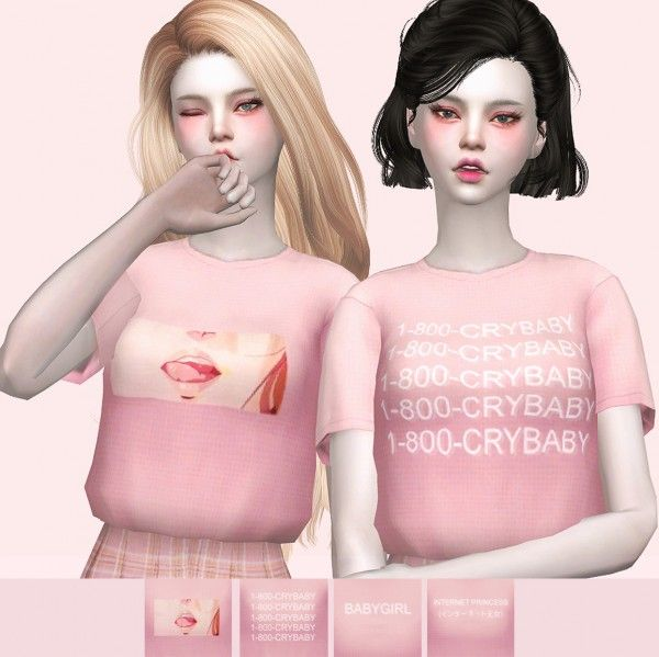 Nini-Sims: Pink Aesthetic T-Shirt 002 • Sims 4 Downloads