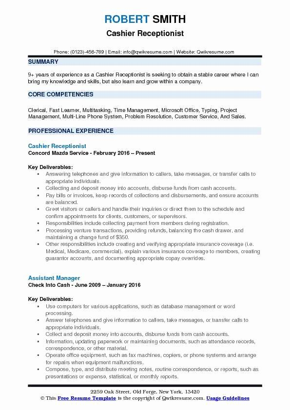 Answering Multiple Phone Lines Resume New Cashier Receptionist Resume Samples Good Resume Examples Resume Engineering Resume