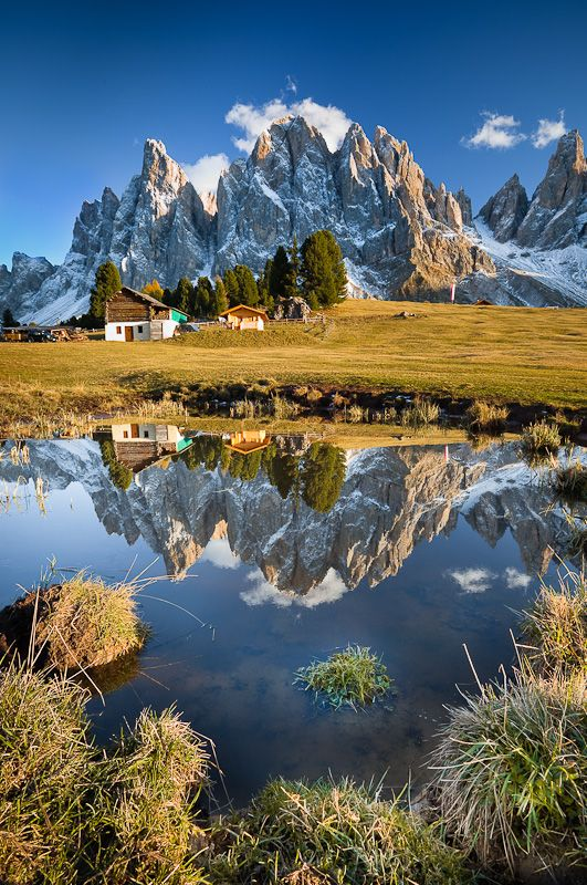 Fall reflection in Dolomites, Italy