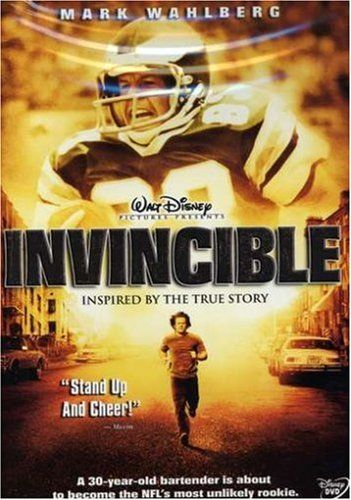 Football Movie -  Invincible ** (2006) - Mark Wahlberg (Vince Papale), Greg Kinnear (Coach) - Rocky trades in boxing gloves for a football helmet and pads in this inspirational winner about another local hero from the City of Brotherly Lugs, Philadelphia Eagles special-teams star Vince Papale.  (Drama) - Watched June 30, 2014.