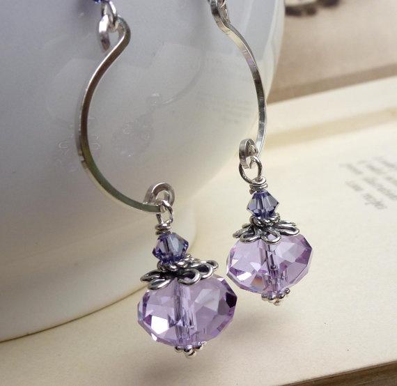 BEAUTIFUL EAR WIRES Lavender lilac purple earrings, long sterling silver crystal jewelry