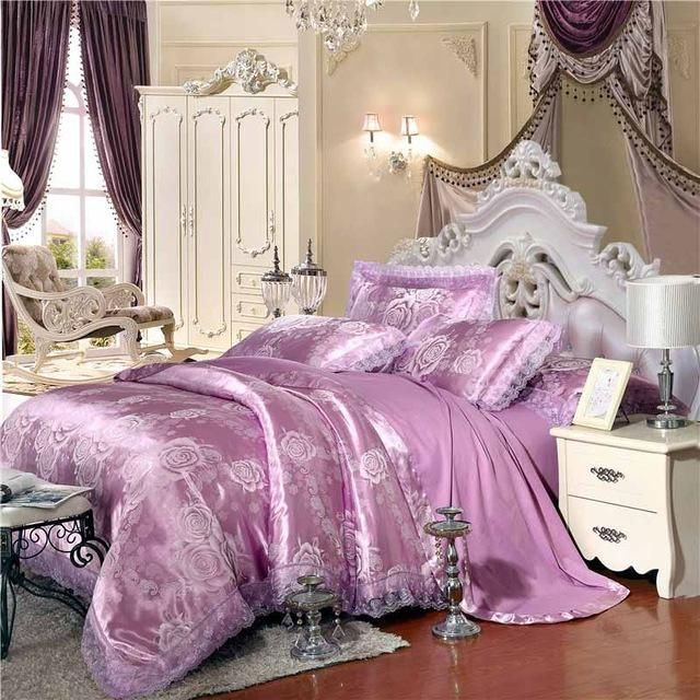 duvet cover king queen bedclothes bed linen sets 29 design jacquard silk bedding set luxury 46pcs satin bed set