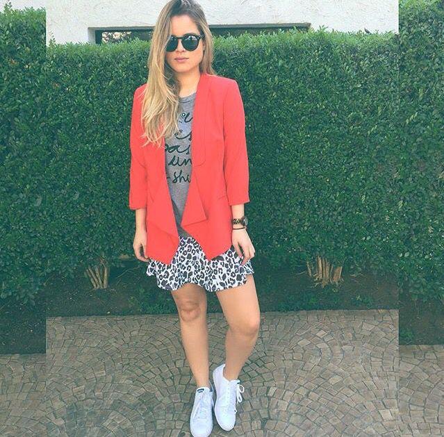 Orange blazer / look do dia / tênis branco / Sherons/ Andressa Almeida