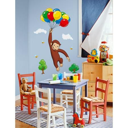 RoomMates - Curious George Peel & Stick Giant Wall Decal - Walmart.com