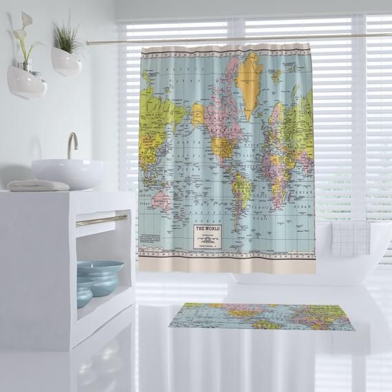 World Map Shower Curtain Historical Colorful Vintage Map