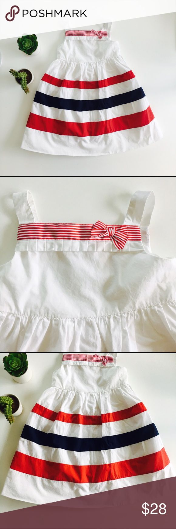 [girls] Janie and Jack dress Janie and Jack dress in white with red and blue accents. Back button closure. Lined. In excellent condition but hem needs to be fixed. Size 3T. Janie and Jack Dresses