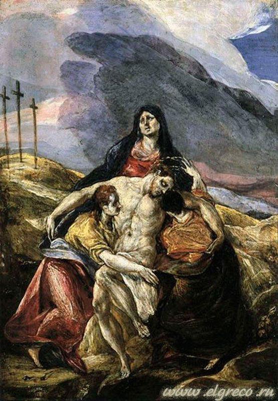 Пьета, или Оплакивание Христа. Доменико Эль Греко 1571-75. Темпера, дерево. . Музей искусств, Филадельфия.