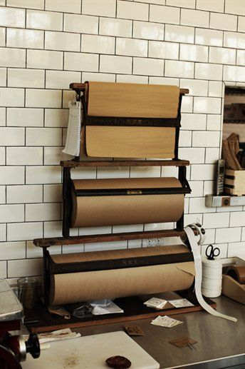 Counter Roll Holders: Handy for Sandwiches and nice cheeses.    The Woodsman Tavern (Portland, OR)