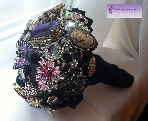 Completely one off,  Black, purple and silver brooch and jewel bouquet on Etsy, £350.00