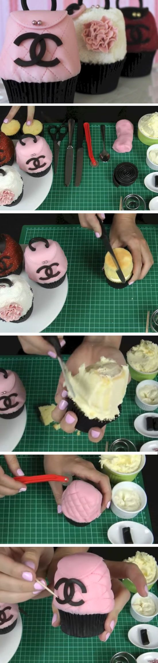 Chanel Purses   DIY Mothers Day Cupcakes Ideas for Kids to Make   Easy Valentines Treats for Friends