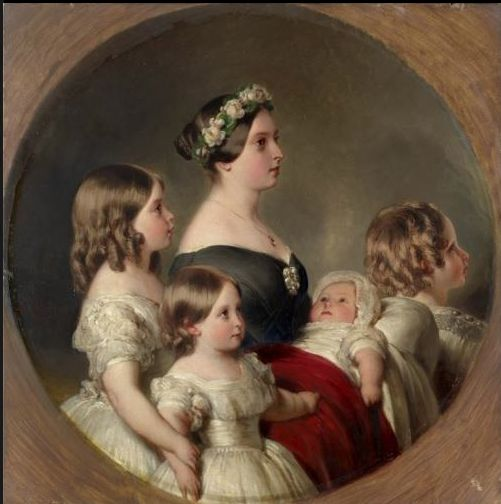 Only child of Prince Edward Augustus Duke of Kent (1767–1820) & Princess Victoria (Marie Luise Viktoria) (1786–1861) of Saxe-Coburg & wife of Prince Albert of Saxe Coburg & Gotha (1819-1861). Queen Victoria (1819-1901) portrait by Franz Xaver Winterhalter of Victoria with her children in 1849.