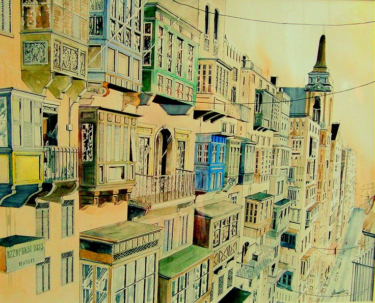 Street of Malta in watercolour.