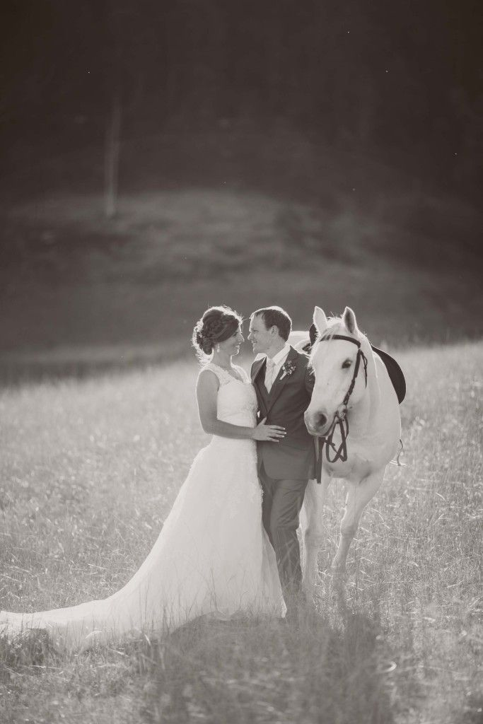 Bride and Groom with white horse in the sunset. Black and white photo.   Gorgeous country wedding location near Sydney, NSW. http://www.chapmanvalleyhorseriding.com/australian-country-horseback-wedding/   White horse. Horseback wedding. Romantic wedding. Outdoor wedding. Unique wedding. Wedding Ideas. Lace wedding dress.
