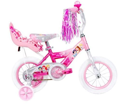 """12"""" Huffy Disney Princess Girls' Bike with Doll Carrier :The pink steel frame bike has a silver handlebar and pink rims. The decorated seat is padded for comfort and includes an alloy quick release to make height adjustments a snap. The grips and tires are specially designed with a hearts and crowns pattern for a totally royal ride. The single-speed bike has an easy-to-use coaster brake. Wide training wheels provide added stability."""