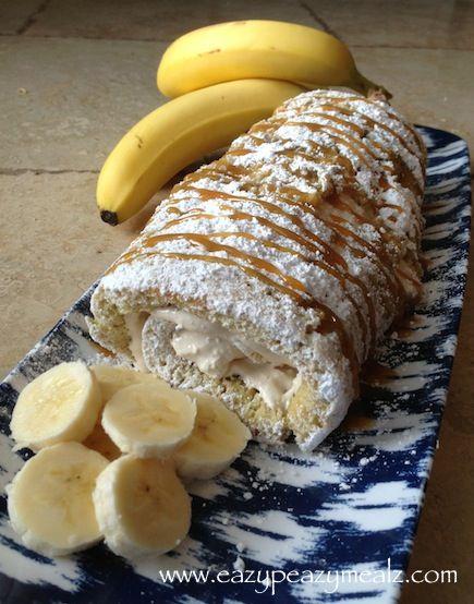 Caramel Banana Cake Roll: Spongy banana cake filled with a caramel filling - Eazy Peazy Mealz