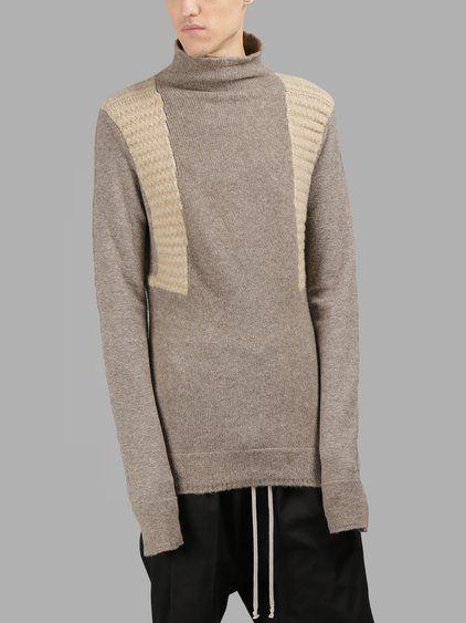 RICK OWENS Rick Owens Men'S Light Brown Turtleneck. #rickowens #cloth #knitwear
