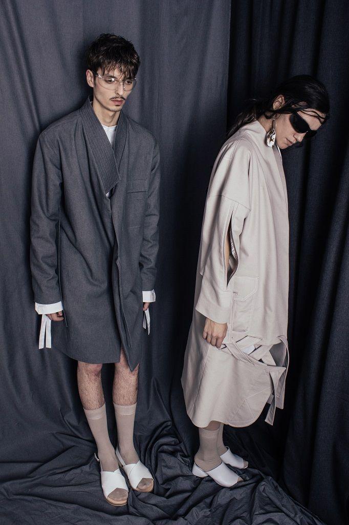 Constantine/Renakossy | rhéō 17 | women and menswear - campaign - LONG DENIM COAT / TRENCH-KIMONO HYBRID