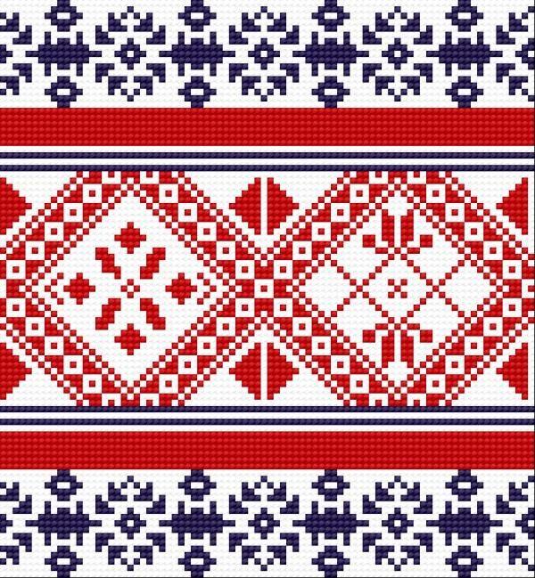 Traditional pattern from Wlodawa (early 20th c.) (folk, polish, design, border)