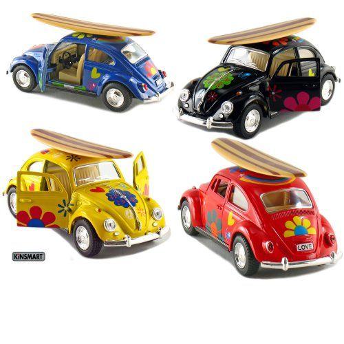 """Set of 4: 5"""" Classic Volkswagen Beetle with Decal and Surfboard 1:32 Scale (Black/Blue/Red/Yellow). Not Suitable for Children Under 8 Years Old. 1:32 Die Cast Metal Car with Plastic Parts. A Set of 4 pcs 5"""" Classic Volkswagen Beetle with Decal and Surfboard 1:32 Scale in Black, Blue, Red and Yellow, made by Kinsmart. Pull Back Action. Official Licensed Product. Openable Doors. 96 months."""