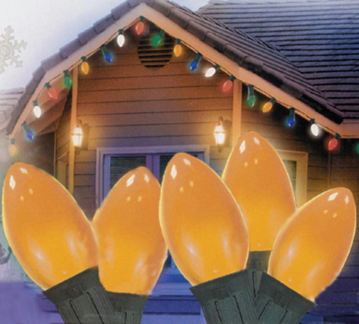 "Set of 25 Opaque Orange C7 Christmas Lights 12"" Bulb Spacing - Green Wire"