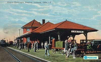 Lawton postcard post card - Train station, Lawton, OK