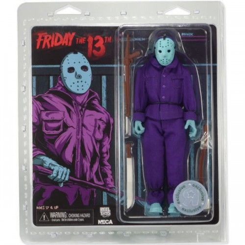 1989 Video Game Appearance. This poseable figure dressed in tailored fabric clothing similar to the retro toy lines that helped define the licensed action figure market in the 1970s. Jason comes complete with a machete, axe, and harpoon gun and a removable mask that glows in the dark! Blister card packaging with removable protective clamshell. This horrifying statue stands 8 inch tall.