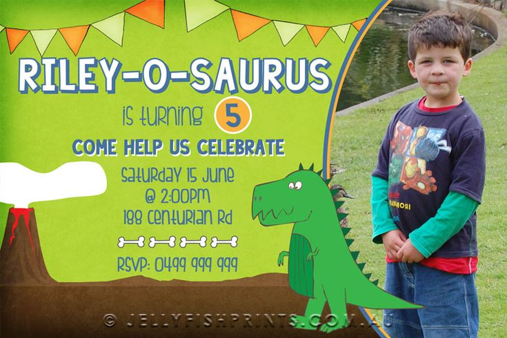 dinosaur invitations birthday party | Dinosaur birthday invitations for a Dinosaur themed Birthday Party ...