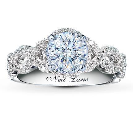 0.40 Carat I-I1 Very Good Cut Round Diamond plus Neil Lane Ring Setting 5/8 ct tw Diamonds 14K White Gold
