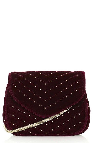Free shipping and returns on Topshop Embellished Velvet Crossbody Bag at Nordstrom.com. Elegant meets edgy with this quilted velvet crossbody bag punctuated with pin-stud embellishments and a chain-link strap.