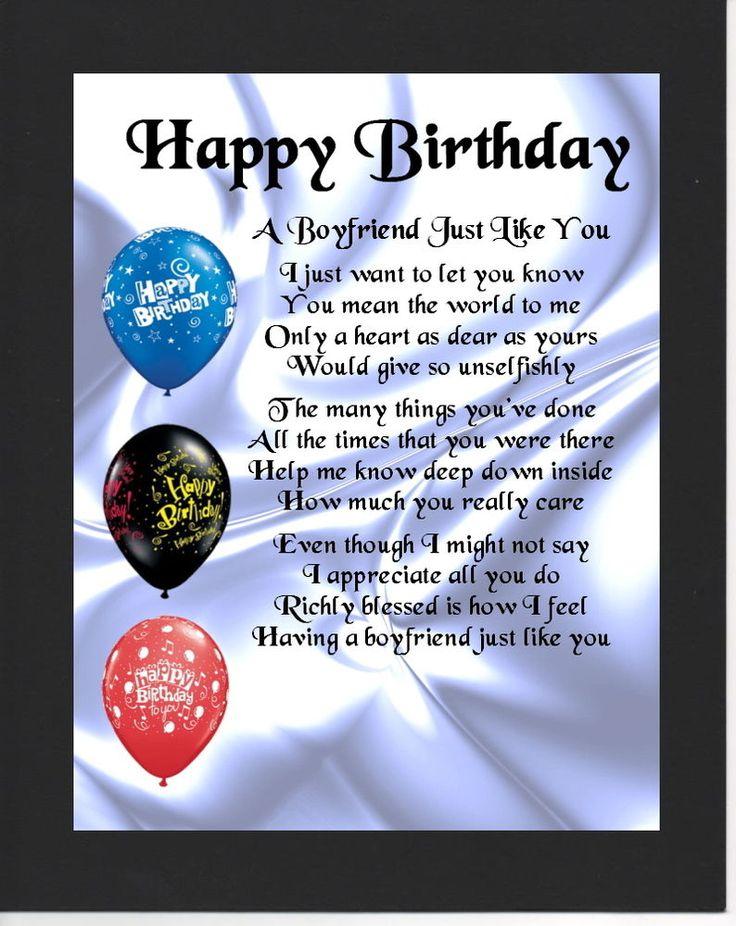 Personalised Mounted Poem Print -  Happy  Birthday   - Boyfriend  Poem