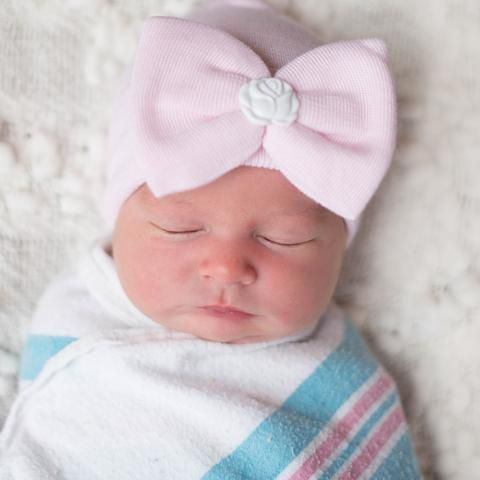 Soft Pink Bow Hat With White Vintage Cameo Newborn Girl