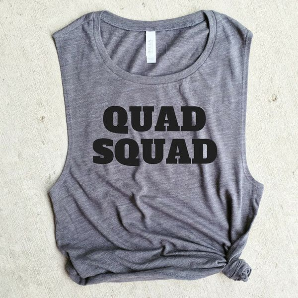 Quad Squad Grey Muscle Tee Crossfit Workout Tank Gym Shirt Yoga Funny... ($22) ❤ liked on Polyvore featuring grey, tanks, tops, women's clothing, workout shirts, drapey shirt, grey shirt, yoga shirts and cotton workout shir