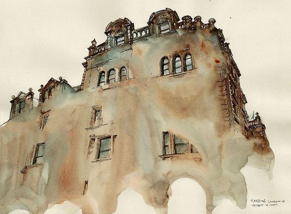 Dream-Like Watercolor Paintings Of Dissolving Buildings - DesignTAXI.com