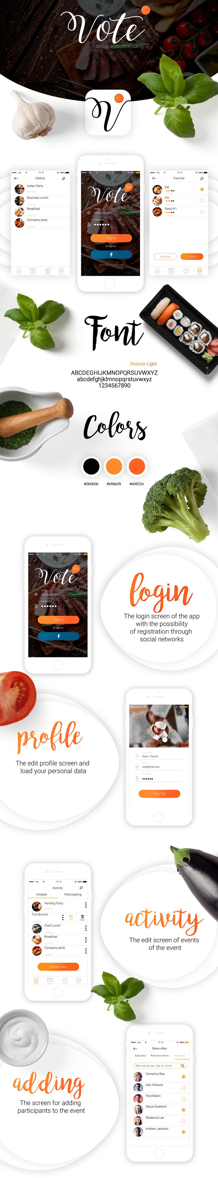 Design mobile app vote on Behance