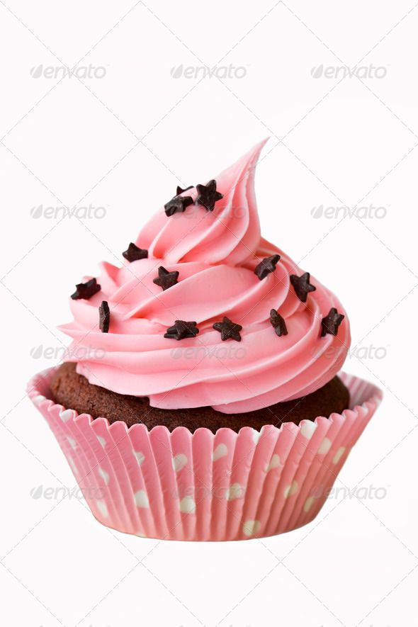 Pink cupcake decorated with chocolate stars