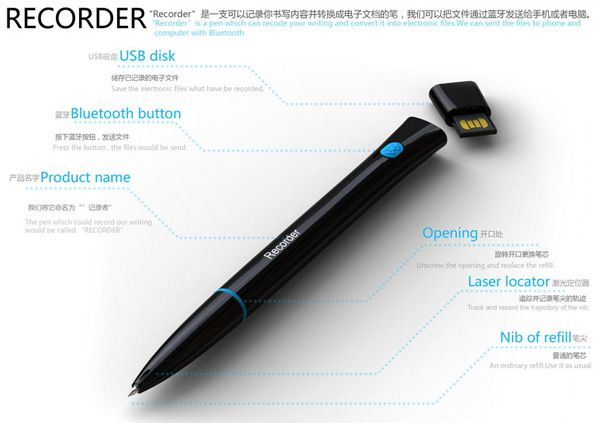 Recorder is this magic pen that converts your written notes into electronic files and then transfers it to your phone and computer via Bluetooth