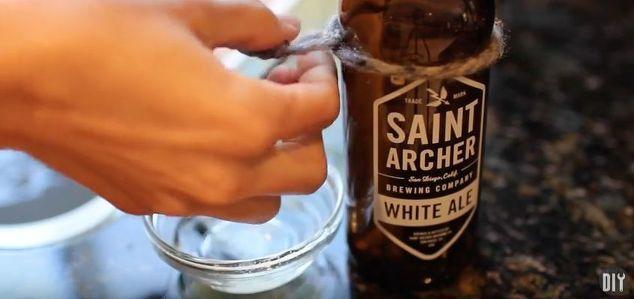 fai da te di birra bottiglia di vetro candele a casa taglio, decorazioni per la casa