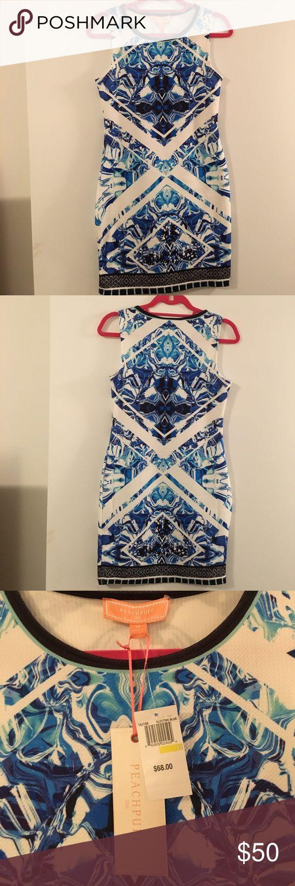 Blue and White Bodycon Mini Dress NEVER WORN blue and white design bodycon dress. Very slimming design ! PEACHPUFF Dresses Mini