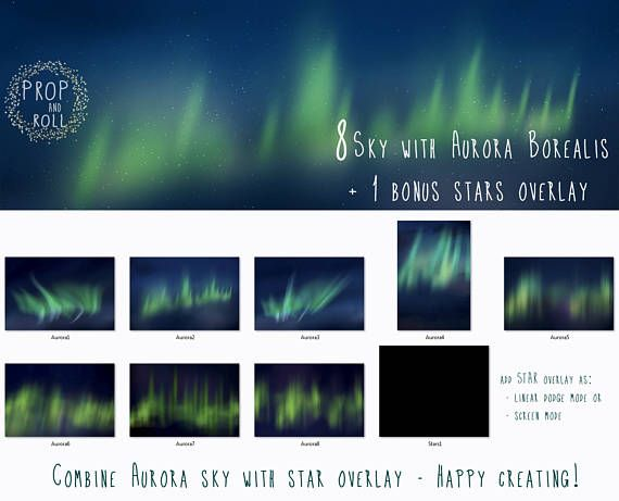 8 large Northern Light Overlays night sky Aurora Borealis