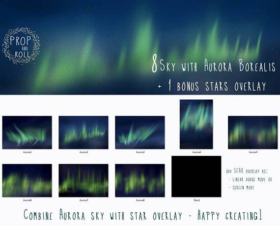 8 large Northern Light Overlays night sky Aurora Borealis