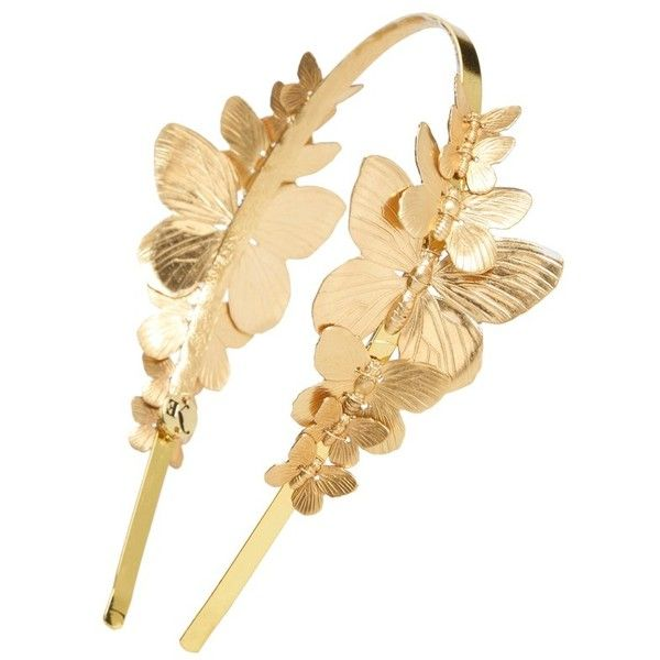 Eugenia Kim 'Venus' Butterfly Headband featuring polyvore, women's fashion, accessories, hair accessories, gold, hair bands accessories, eugenia kim, embellished headbands, butterfly headband and leaf hair accessories