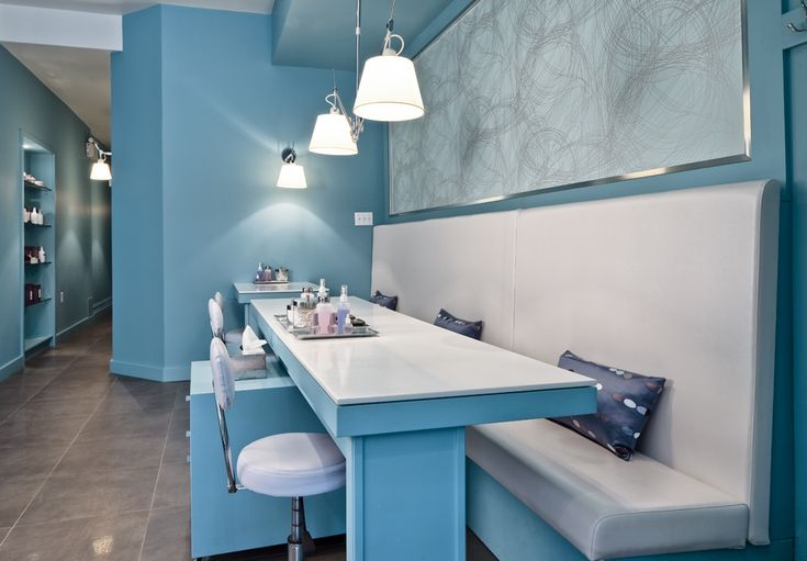 Spa manicure station, custom bench and millwork.  Beauparlant Design
