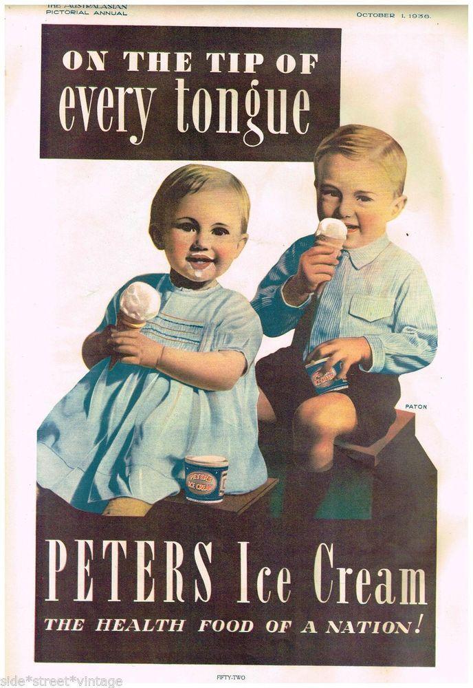 PETERS ICE CREAM AD VERY RARE LARGE AUSTRALIAN Vintage Advertising 1936 Original