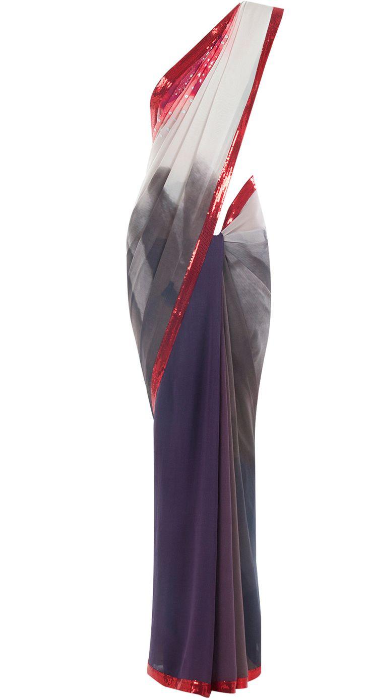 Shaded grey and red sequin work sari by SATYA PAUL. Shop at http://www.perniaspopupshop.com/whats-new/satya-paul-6811