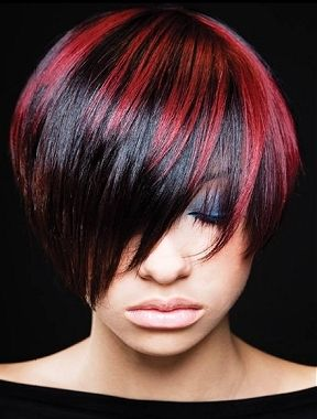 red highlights #hair: Short Hair, Hair Ideas, Hair Colors, Hairstyles, Red, Hair Styles, Black Hair, Haircolor