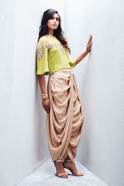 drape dhoti, gold dhoti, parrot green top, gold embroidery