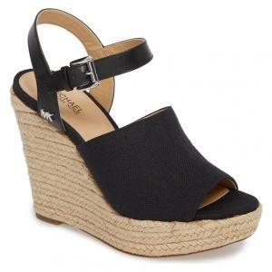 952250e6793 MICHAEL Michael Kors Canvas Espadrille Black Penelope Wedge Sandals - 25%  Off