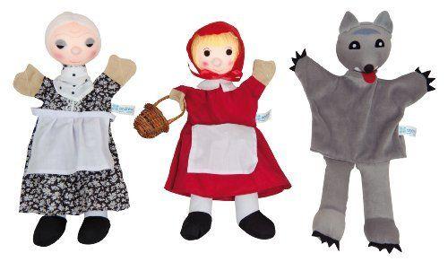 Pack de marionetas del cuento de la Caperucita roja de Andreu Toys.  ¡Ideal para jugar en familia! Estas marionetas estimulan la imaginación y la socialización.
