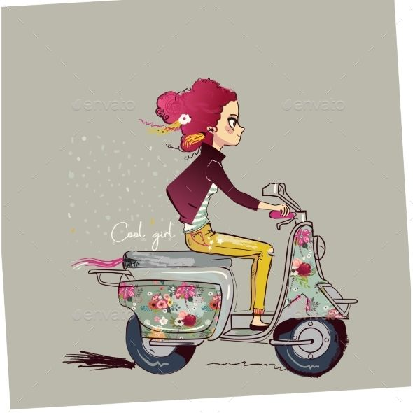 Cartoon Girl On Motorbike Girl Cartoon Cute Cartoon Girl