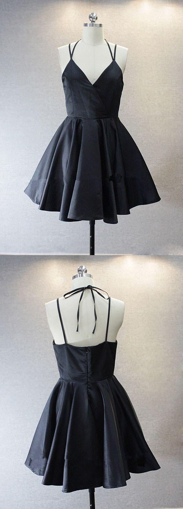Simple V-neck Sleeveless Short Black Taffeta Homecoming Dress with Spaghetti…